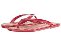 Michael Michael Kors Jet Set Mk Jelly Crimson Pvc Stripe Printed Cork Women's Sandals Coral