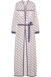 Talitha Printed Silk And Cotton Blend Robe Lilac