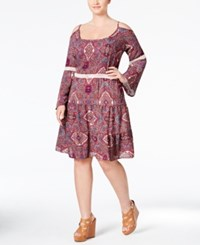 Love Squared Plus Size Printed Cold Shoulder Peasant Dress Multi