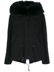 Mr And Mrs Italy Racoon Fur Trim Hooded Coat Women Cotton Lamb Skin Polyester Racoon Fur S Black