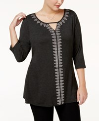 Belldini Plus Size Embellished Keyhole Tunic Heather Charcoal Silver