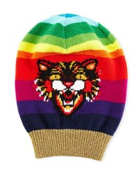 Gucci Wool Beanie Hat With Angry Cat Motif Multi