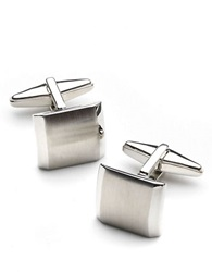 Kenneth Cole Reaction Brushed Domed Cufflinks Silver