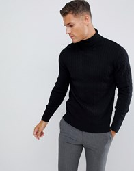 Selected Homme Knitted Roll Neck Jumper In Cable Cotton Black