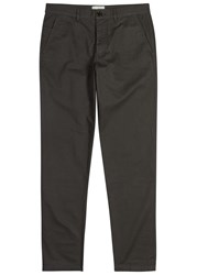 Oliver Spencer Worker Taupe Straight Leg Cotton Trousers Charcoal