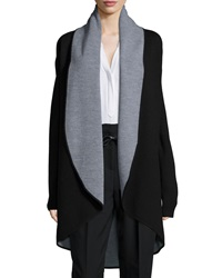 Milly Contrast Draped Wool Coat