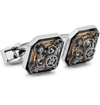 Tateossian Diabolo Ottagono Gear Rhodium Plated And Enamel Cufflinks Silver