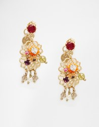 Les Nereides Drop Floral Earrings Goldmulti