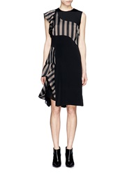 3.1 Phillip Lim Cascading Stripe Panel Ruffle Silk Satin Dress Black
