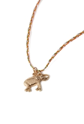 Forever 21 Longline Elephant Charm Necklace Antic Gold Orange