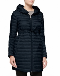 Moncler Long Puffer Drawstring Coat Navy