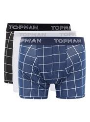 Topman Multi Navy And Black Grid Check Trunks 3 Pack