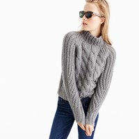 J.Crew Collection Italian Cashmere Mohair Cable Mock Neck Sweater