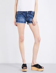 Current Elliott The Boyfriend Frayed Hem Stretch Denim Shorts In Love W White Stars