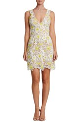 Dress The Population Women's Mina Minidress White Yellow Floral