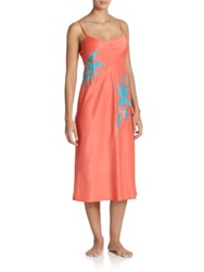 Natori Lanai Long Gown Coral Multi