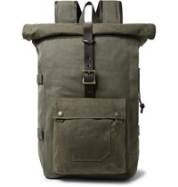 Filson Roll Top Tin Cloth And Leather Trimmed Twill Backpack Army Green