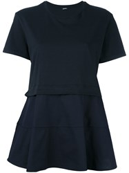 Jil Sander Navy Panelled Flared T Shirt Blue
