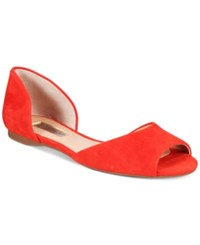 Inc International Concepts Women's Elsah D'orsay Peep Toe Flats Only At Macy's Women's Shoes Spring Red