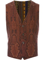 Etro Floral Paisley Print Waistcoat Brown