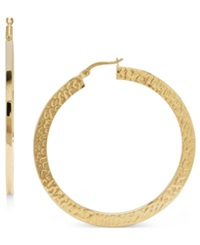 Macy's 14K Gold Earrings Large Flat Hammered Hoop
