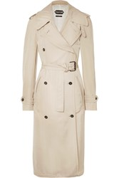 Tom Ford Double Breasted Leather Trimmed Twill Trench Coat Beige
