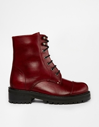Park Lane Leather Chunky Lace Up Ankle Boots Red
