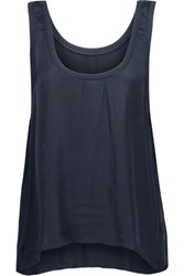 Enza Costa Ribbed Knit Trimmed Satin Tank Storm Blue