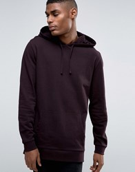 Asos Longline Hoodie In Burgundy Moussaka Red
