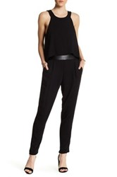 Ella Moss Faux Leather Trimmed Cutout Jumpsuit Black