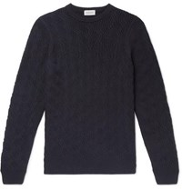 John Smedley Textured Virgin Wool Sweater Navy