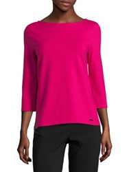 Imnyc Isaac Mizrahi Three Quarter Sleeve Boatneck Tee Raspberry