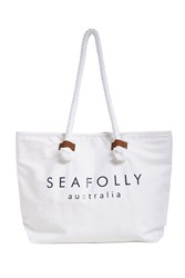 Seafolly Carried Away Ship Sail Tote White