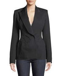 Thierry Mugler Peak Lapel Wool Twill Suiting Blazer Jacket Black