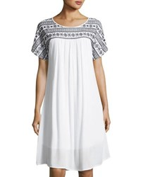 Neiman Marcus Embroidered Short Sleeve Swing Dress White Black