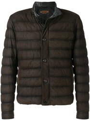 Tod's Padded Jacket Calf Leather Polyester L Brown
