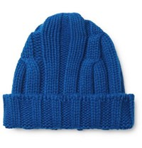 Connolly Ribbed Merino Wool And Cashmere Blend Beanie Blue