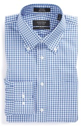 Men's Big And Tall Nordstrom Non Iron Trim Fit Gingham Dress Shirt Blue Bell