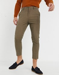 New Look Mini Check Trousers In Camel Beige