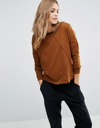 Vero Moda Seam Detail Slouchy Sweatshirt Monks Robe Brown