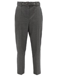Brunello Cucinelli Belted Houndstooth Wool Trousers Black White