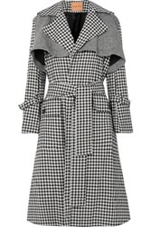 Maggie Marilyn Be Strong And Courageous Gingham Cotton And Herringbone Wool Trench Coat Black