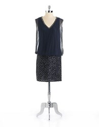 J Kara Beaded V Neck Blouson Dress Grey Multi