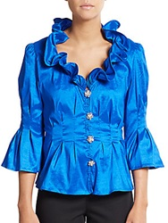 Chetta B Ruffle Neck Blouse Electric Blue