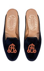 Stubbs And Wootton Twine Red M'onogrammed Hand Embroidered Mule Navy