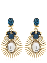 Anton Heunis Bollywood Princess Collection Earrings Blue Gold