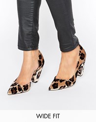 Asos Sapphire Wide Fit Pointed Heels Leopard Multi