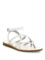 Joie Oda Strappy Studded Leather Flat Sandals White