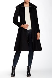 Dawn Levy Zip Front Flared Wool Maxi Coat Black