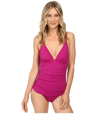 Tommy Bahama Pearl Solids Over The Shoulder V Neck One Piece Wild Orchid Pink Women's Swimsuits One Piece
